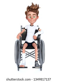 3D rendering of an unhappy cartoon boy with a broken arm and leg sitting in a wheelchair. White background.