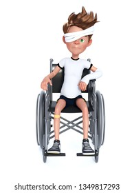 3D rendering of an unhappy cartoon boy with a broken arm and eye bandage sitting in a wheelchair. White background.