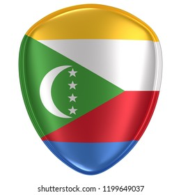 3d rendering of an Union of the Comoros flag icon on white background.