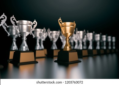 3d rendering unique champion golden trophy standing out of the crowd unique leadership business concepts.