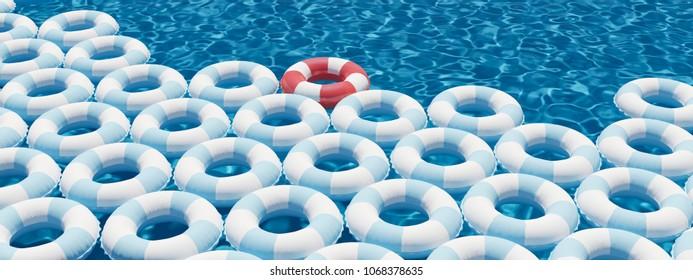 3D rendering. unique red float ring between blue float rings in pool.