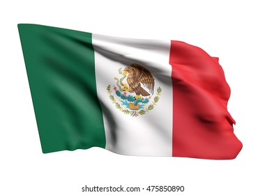 3d rendering of United Mexican States flag waving on a white background