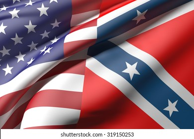 3d rendering of an united states and confederate flags