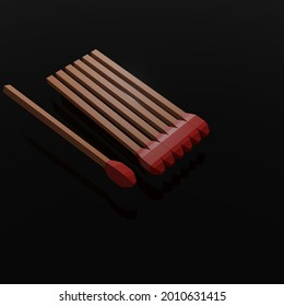 A 3D rendering of unlit matchsticks isolated on black background