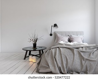 3D rendering of unmade bed in room with blank wall and candles on hardwood white colored floor