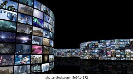 3d rendering. Unrolling cinema video wall