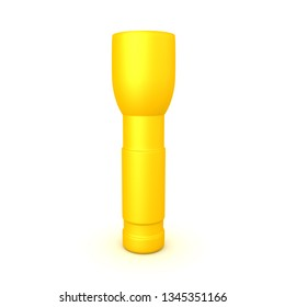 3D Rendering of a upright flashlight. 3D rendering isolated on white.