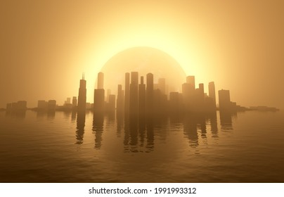 A 3D rendering of an urbang cityscape on water being backlit by a glowing eclipse.