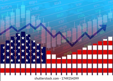 3D rendering of US flag on bar chart concept of economic recovery and business improving after crisis such as Covid-19 or other catastrophe as economy and businesses reopen again.