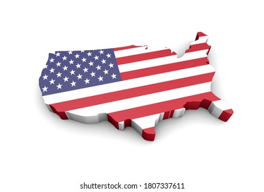 3d rendering of USA map covered by american flag on white background. Isometric view of United States of America map.
