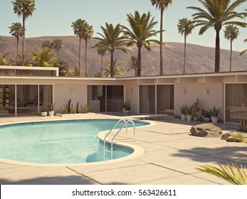 3d rendering. vaction in villa with a pool