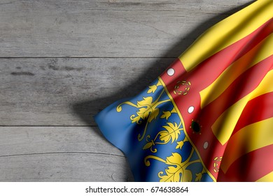 3d rendering of a Valencian Community flag on wooden surface