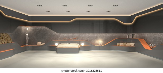 3D rendering of vanguard luxurious futuristic modern interior design of bedroom
