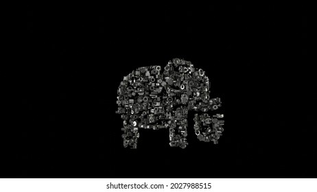 3d rendering various mechanical glossy metal parts in shape of symbol of elephant animal isolated on black background