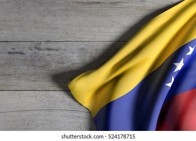 3d rendering of Venezuela flag waving on wooden background