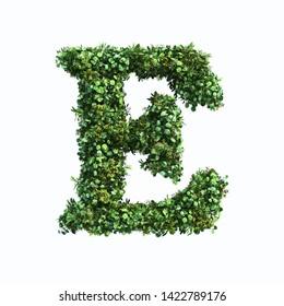 3d rendering of vertical garden alphabet with oil paint filter