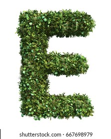 3d rendering of vertical garden alphabet with oil paint filter