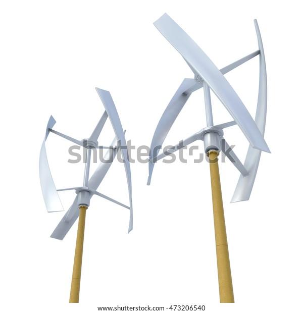 3d Rendering Vertical Wind Turbine On Stock Illustration 473206540