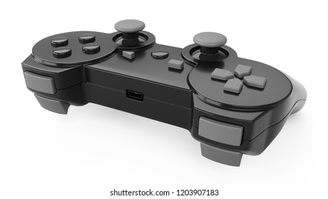 3d rendering video game controller on white background