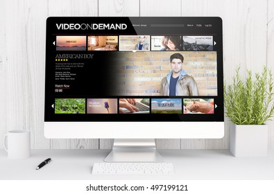 3d rendering video on demand on computer. All screen graphics are made up.