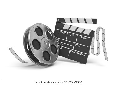 3d rendering of a video reel aand black clapperboard with empty fields on white background. Shooting new movies. Cameramen and directors. Cinema maker.