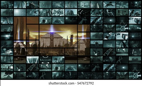 3d rendering. Video wall with futuristic ancient city