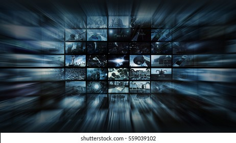 3d rendering. Video wall into space warp