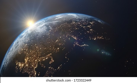 3D rendering of a view of the planet Earth from space. On the surface of the planet are visible clouds, continents, oceans. Elements of this image furnished by NASA