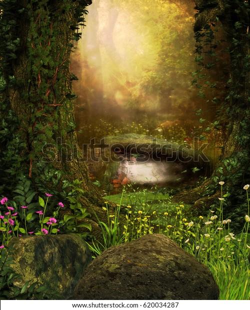 幻滅した暗い森と池を通したビューの3Dレンダリング。