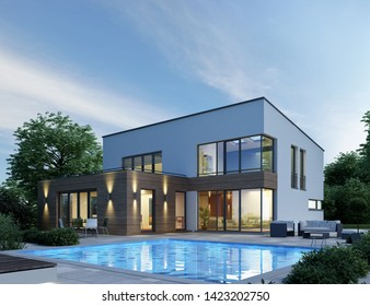 3D rendering of a villa with pool in the evening