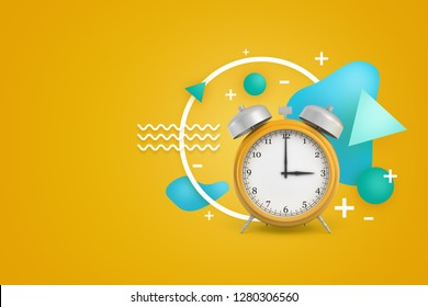 3d rendering of a vintage alarm clock with various symbols and geometric shapes floating around on yellow background. Time management. Commitment and attention to detail. Observing punctuality.