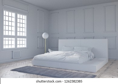 3d rendering of vintage bedroom in bright daylight