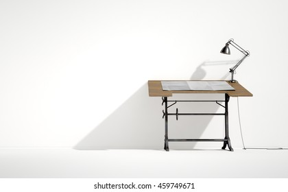 A 3D rendering of a vintage draftsmans desk with a classic desk lamp and a sheet of blank paper on an isolated white studio background