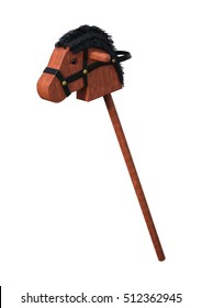 3D rendering of a vintage hobby horse on white background