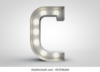 3D rendering Vintage marquee light letter U 3D sign, typography isolated on white background
