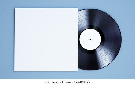 3d rendering of vinyl record mockup