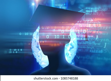 3d rendering of virtual human silhouette on technology background illustration,concept 