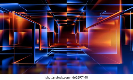3D rendering. Virtual reality abstract cyber space. Modern technology. Box scheme. Neural network. Glass blocks. Web construction.  Industrial cube objects. Hardware quantum form. Smart build.