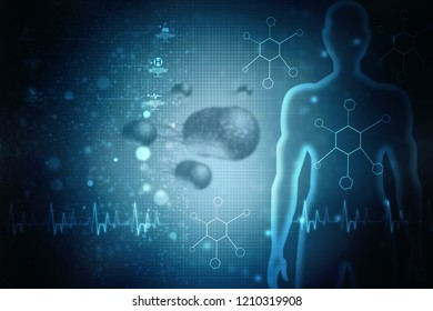 3d rendering Virus bacteria cells background