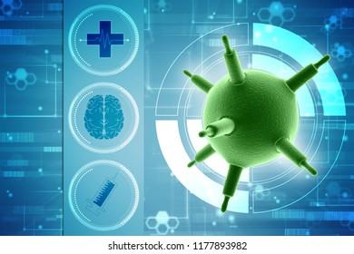 3d rendering viruses in infected organism, viral disease epidemic, virus abstract background