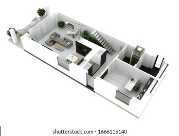 3D rendering. Visualization of the interior of the apartment in a modern style with the possibility of transforming housing into an office.