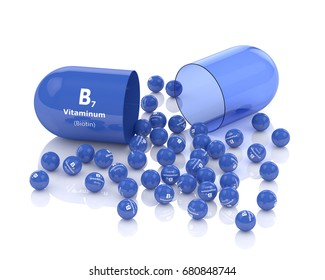 3d rendering of vitamin B7 pill with granules over white background
