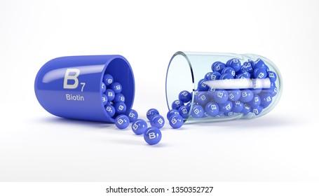 3d rendering of a vitamin capsule with vitamin B7 - biotin on white floor. - Dietary supplements.