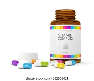 3d rendering of vitamin pills with bottle. Concept of dietary supplements