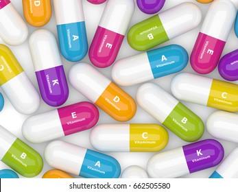 3d rendering of vitamin pills over white background