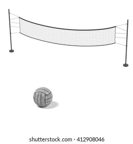 3d rendering of volleyball net with ball