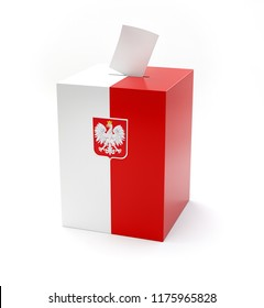 3D rendering of voting box with polish white eagle emblem and painted with national polish colors. Box isolated on white background with clipping path included.