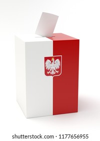 3D rendering of voting box with polish white eagle emblem and painted with national polish colors. Box isolated on white background.