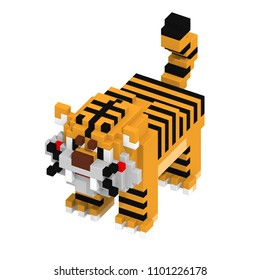 3d rendering voxel cube isometric tiger animal