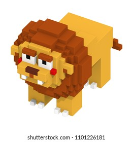 3d rendering voxel cube isometric lion animal
